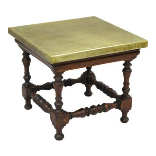 Valenti Brass Copper Top Walnut Wood Small Jacobean Style Square Table Vintage