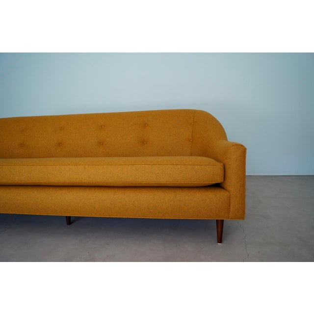 Mid-Century Modern Sofa Reupholstered in Orange Wool For Sale - Image 10 of 13