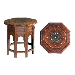 An Intricately Detailed Brass and Pewter Inlaid Octagonal Anglo-Indian Traveling Table