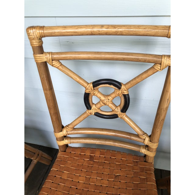 McGuire Rattan Rawhide Target Chairs- Set of 6 For Sale - Image 12 of 13