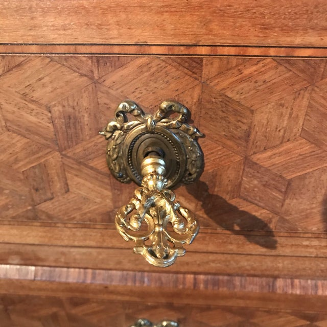French Antique Marquetry Commode or Chest of Drawers With Marble Top For Sale - Image 10 of 13