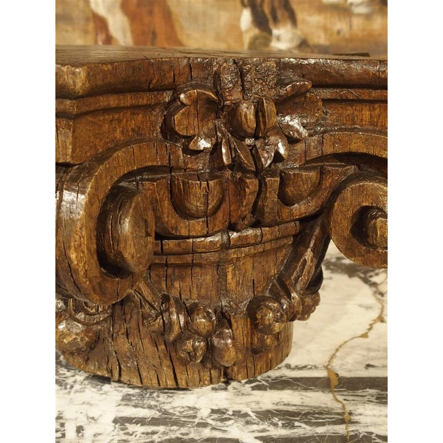 Mid 18th Century Small 18th Century French Oak Column Capital For Sale - Image 5 of 8
