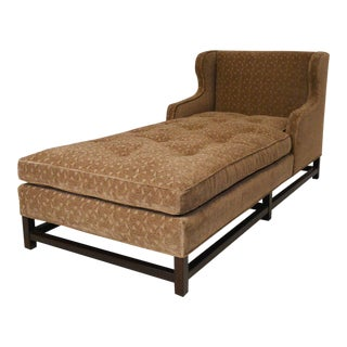 Mid-Century Modern Wingback Chaise with Walnut Legs and Stretchers For Sale