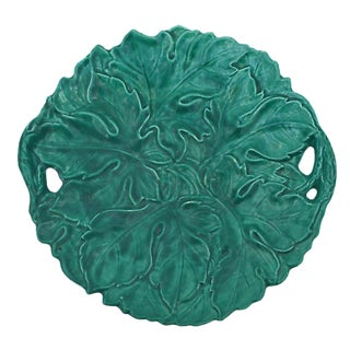 Antique French Green Majolica Large Handled Platter by Sarreguemines Digoin For Sale