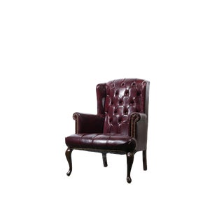 Vintage Tufted Wingback Chairs in Oxblood For Sale