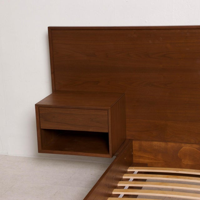 Not Yet Made - Made To Order Modern Walnut King Size Platform Bed With Floating Nightstands For Sale - Image 5 of 11