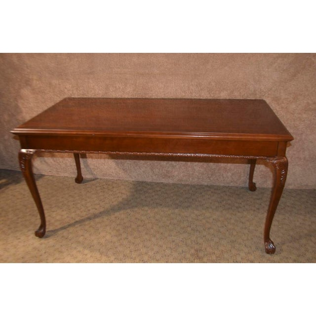 Chippendale Style Cherry Ball Claw Foot Writing Table Desk W Banded Top For