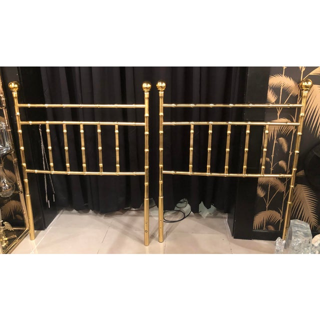 Vintage Hollywood Regency Brass Faux Bamboo Twin Size Headboards -A Pair For Sale - Image 13 of 13