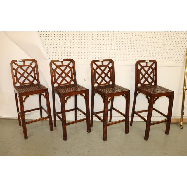 Asian Late 20th Century Chinese Chippendale Fretwork Bar Stools- Set of 4 For Sale - Image 3 of 7