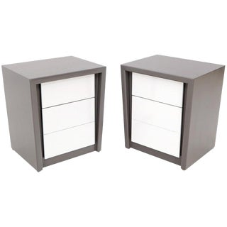 Pair of Tapered Shape Two Drawers Grey and White End Side Tables Nightstands For Sale