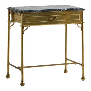 Brass and Marble Console Table With Drawer For Sale