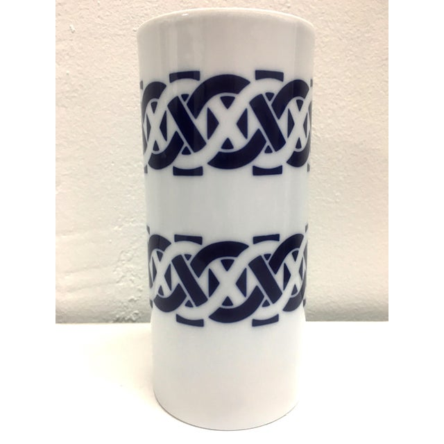Clay Sargadelos Cylindrical Blue and White Ceramic Vase For Sale - Image 7 of 7