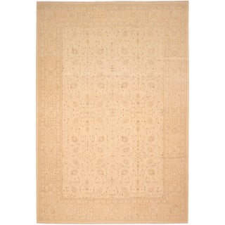 Kafkaz Sun-Faded Cherise Ivory/Tan Hand-Knotted Rug - 12'0 X 17'10