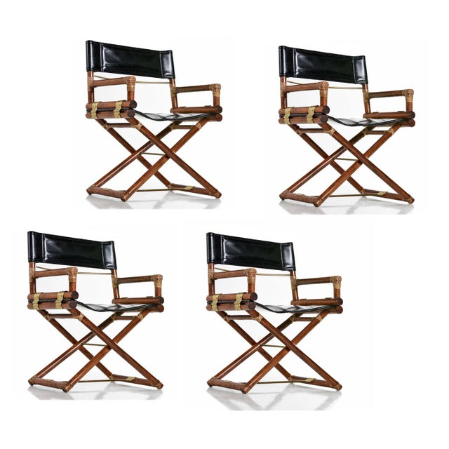 McGuire Director Chair X-Chair, Vintage Black Leather, Oak and Brass For Sale - Image 9 of 9