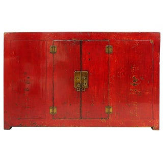 Antique Chinese Red Lacquer Cabinet W/ Brass Hardware For Sale
