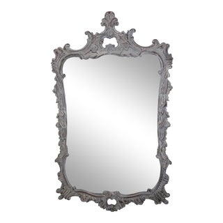 French Gray Chateau Style Carved Louis XVI Style Gustavian Mirror