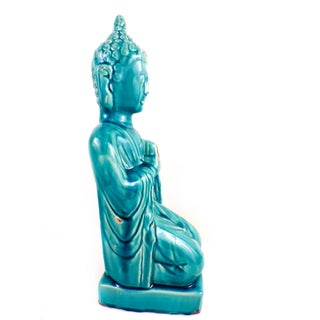 Large Meditating Buddha Glaze Sculpture Turquoise Color Preview