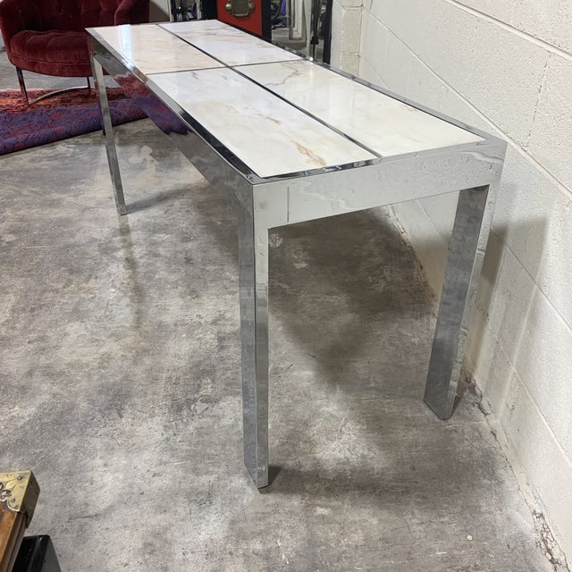 Hollywood Regency Pace Carrara Marble & Chrome Console Table For Sale - Image 3 of 12