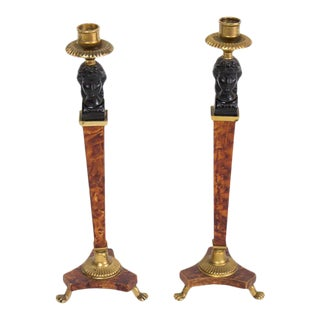Pair of Biedermeier Style Candlesticks For Sale