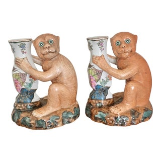 Mid Century Chinoiserie Tobacco Leaf Monkey Candleholders - a Pair For Sale
