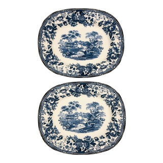 Vintage Clarice Cliff Staffordshire Transferware Platters - a Pair For Sale
