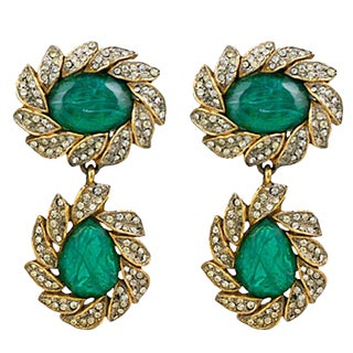 Kjl Earring of Emeralds and Pastes For Sale