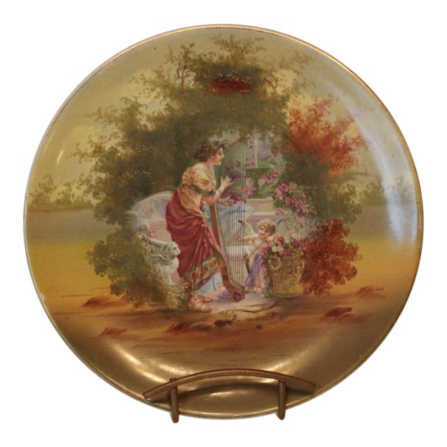 Woman and Harp and Putti Pastoral Decorative Plate For Sale