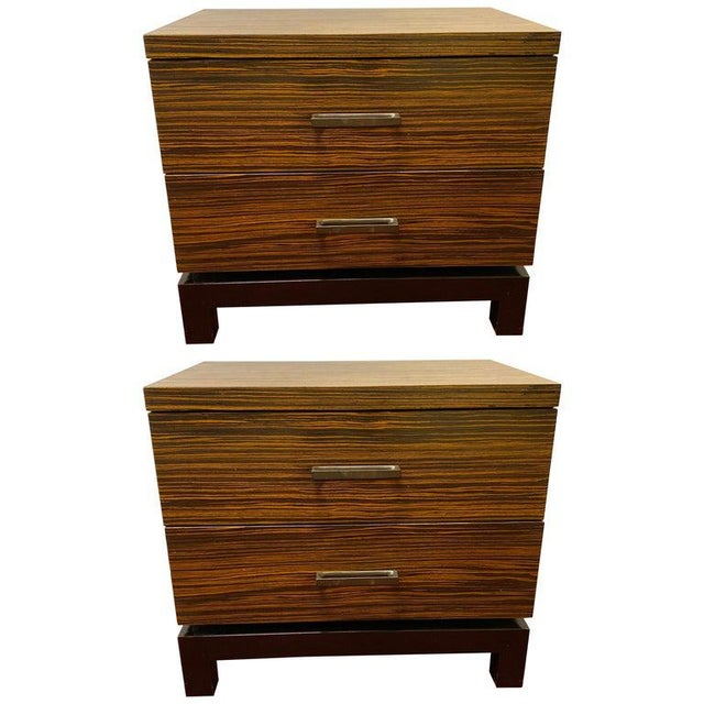 Hollywood Regency Style Zebra Wood End Tables / Nightstands or Chests, a Pair For Sale - Image 11 of 11