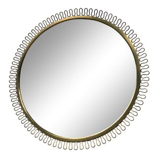 Italian Gio Ponti Inspired Round Brass Mirror For Sale