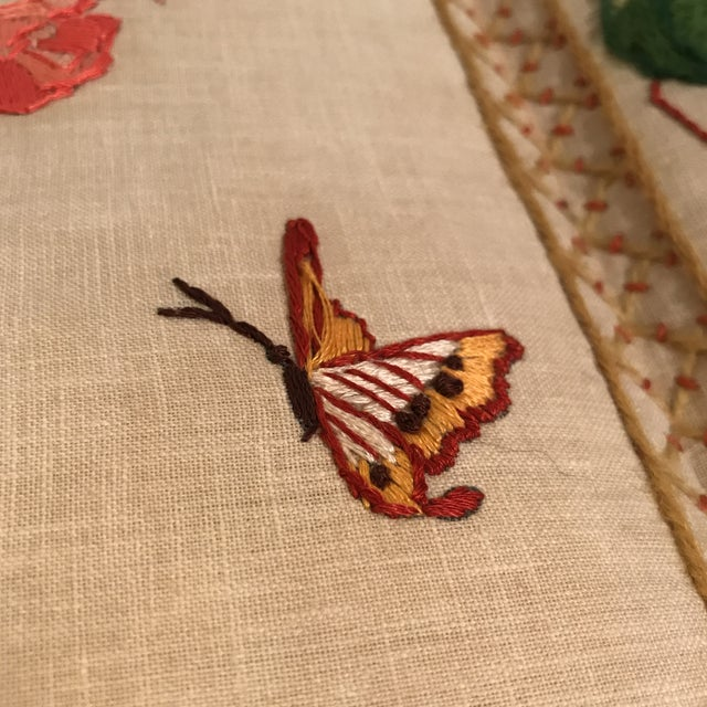 Small Floral Crewelwork Screen For Sale - Image 11 of 13