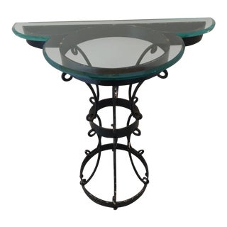 Jean Royere Style Wrought Iron Demilune Console Table For Sale