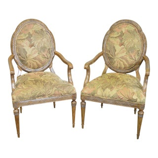 Jeffco French Louis XVI Style Fauteuils Arm Chairs - A Pair