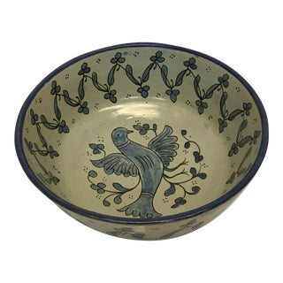 Moroccan Hand Painted Blue & White Bowl For Sale
