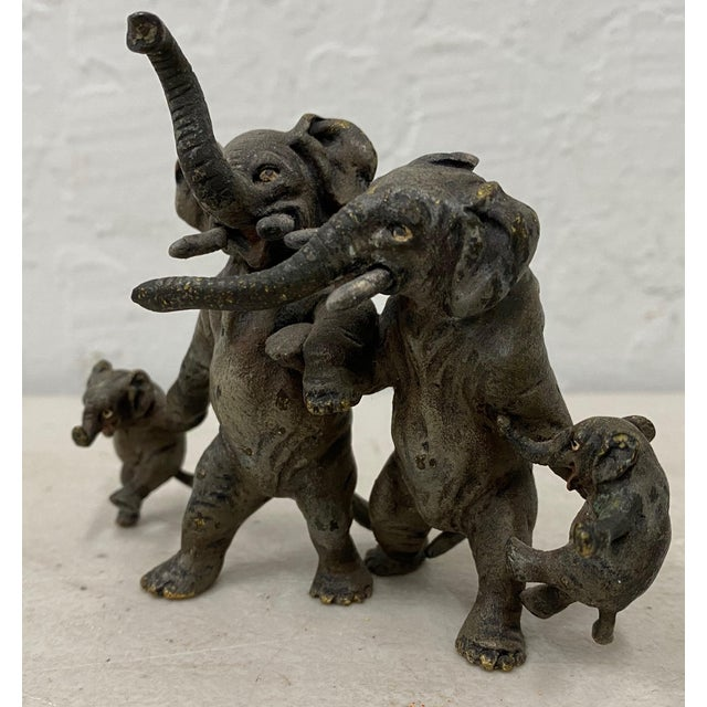 "Safari Miniature Geschutz Vienna Bronze ""Elephant Family"" Sculpture For Sale - Image 3 of 7"