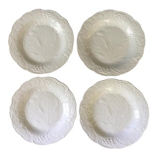 Majolica Burleigh Staffordshire White Plates, Made in England, - Set of 4