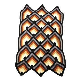 Vintage Hand Crocheted Gradient Geometric Pattern Throw