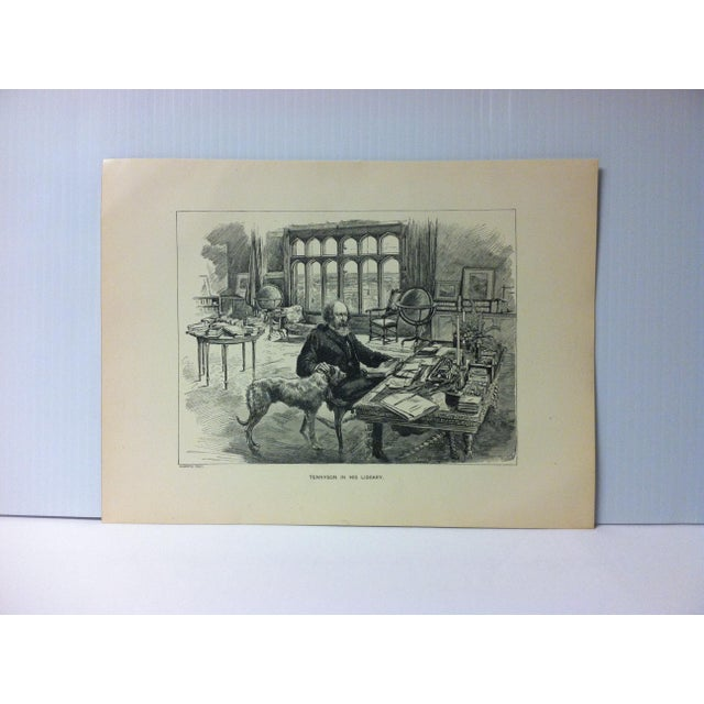 """Antique Black & White Print on Paper, """"Tennyson in His Library"""", Circa 1880 For Sale - Image 4 of 4"""