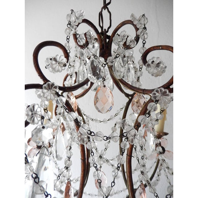 French Pink Maison Baguès Style Crystal Flower Chandelier For Sale - Image 9 of 11