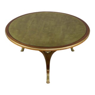 Empire Style Mahogany Coffee Table With Gilt Glass For Sale