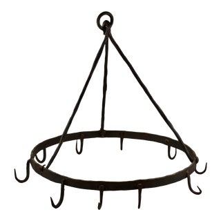 Rustic Triangle Form 19th C. Wrought Iron Butchers / Pot Rack For Sale