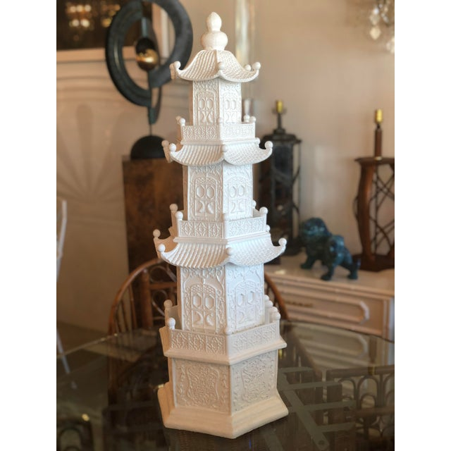 Chinoiserie White Lacquered Pagoda Statue For Sale In West Palm - Image 6 of 12