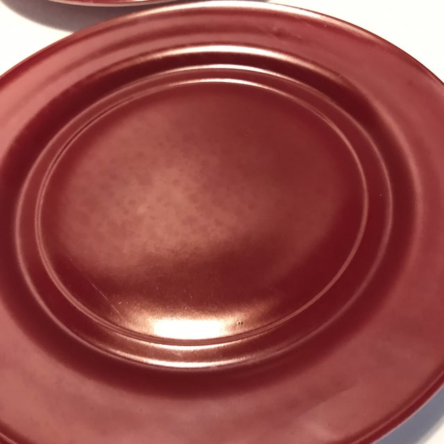 Glass 1930s Milk Glass Maroon Red Dinner Plates - Set of 4 For Sale - Image 7 of 8