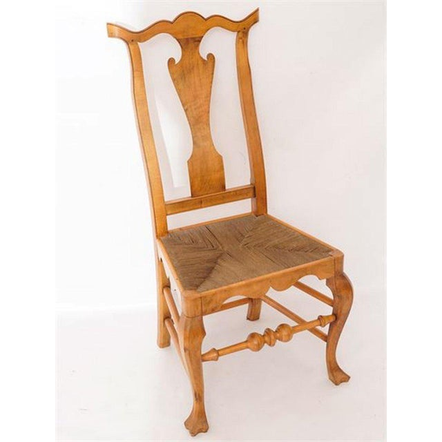 Late 20th Century Six Chippendale Style Tiger Maple Dining Chairs For Sale - Image 5 of 9