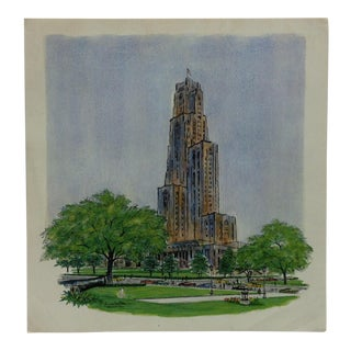 "Color Pittsburgh Print on Paper, ""The Cathedral of Learning"" by J. Howard Miller - 1972 For Sale"