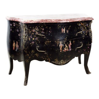 20th C. French Louis XV Style Chinoiserie Marble Top Bombe Commode