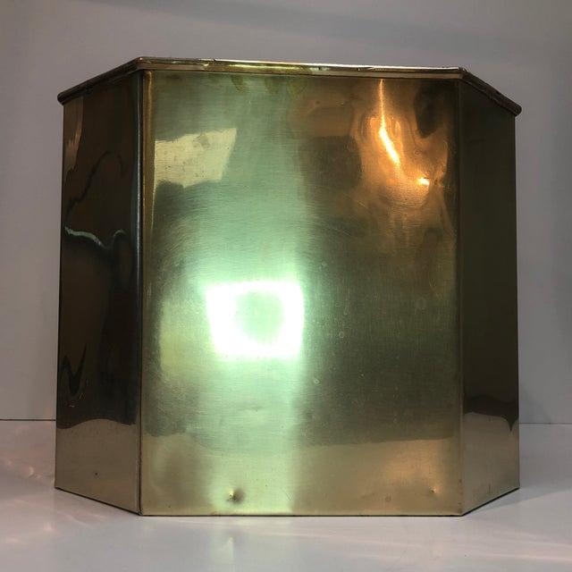 Jumbo Vintage Octagonal Brass Floor Planter For Sale - Image 4 of 8