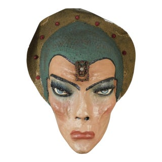 A Monumental 1930s Paper Mache Circus Mask of Katherine Hepburn