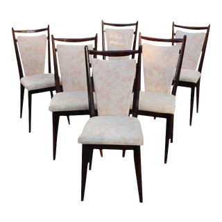 Circa 1940s French Art Deco Mahogany Dining Chairs - Set of 6