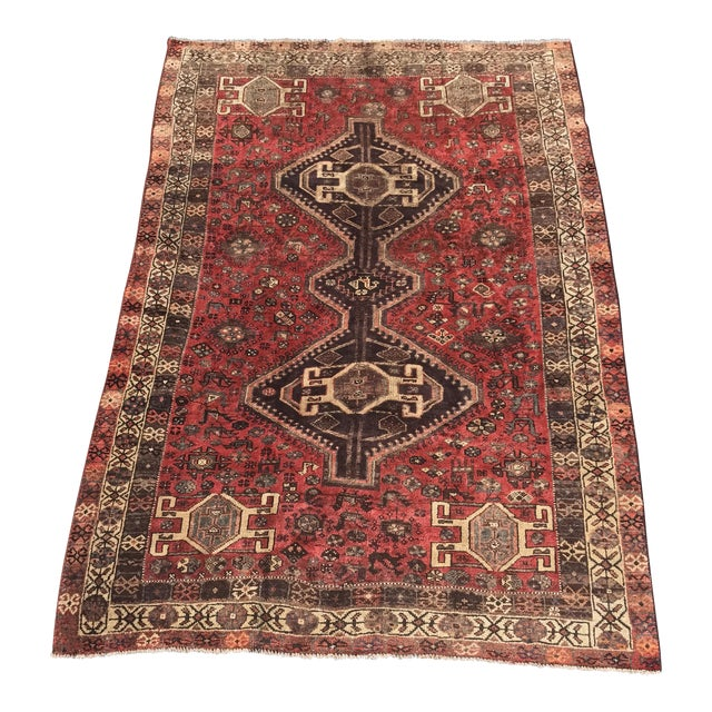 "Vintage Persian Shiraz Area Rug - 5'7""x8'1"" - Image 1 of 11"