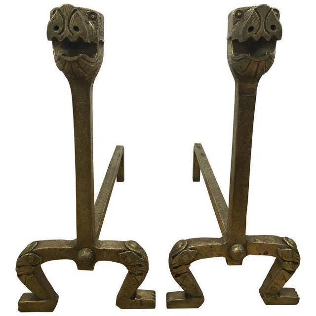 Gilt Bronze Dog Motif Andirons - a Pair For Sale - Image 5 of 5